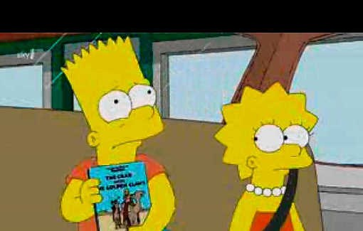 Bart Simpson neemt 'De krab met de gulden scharen' mee op reis. rr