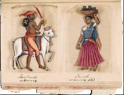 Manuscript uit 1837 met afbeeldingen van de verschillende kasten en etnische groepen in Zuid-India in die tijd.wdl