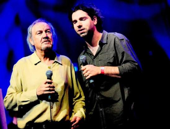 Zjef Vanuytsel met Klaas Delrue van Yevgueni: de twee centrale gasten van Nekka 2009.Koen Bauters