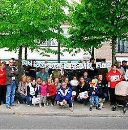 De actiegroep Beton voert actie tegen de omleidingsweg. kvh