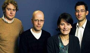 Wouter Verschelden, Bart Brinckman, Isabel Albers en Steven Samyn.