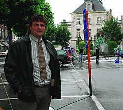 Unizo-voorzitter Robin Schryers wil een soepeler parkeerverbod tijdens de wekelijkse openluchtcinema op het Stationsplein. Eddy Vuylsteke