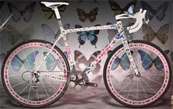 Echte vlinders op de nieuwe fiets van Lance