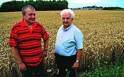 Frans Geraerts en Michel Pollet (links) op de plaats waar Scherpenheuvel Sport wil voetballen. Foto Guy Meurs