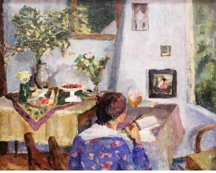 'Vrou bij lessenaar'. Maud Sumner