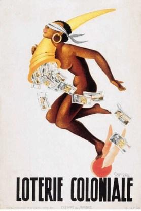 Affiche van Jacques Gouppy uit ca. 1950, met een Afrikaanse versie van de godin Fortuna. Nationale Loterij