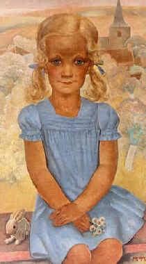 Anto Carte (inzet) schilderde in 1932 het doek 'Jong meisje met blauwe jurk' voor de Brusselse familie Goldschmidt. Tien jaar later werd het gestolen. rr