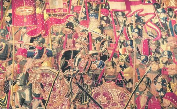 Koning Alfons V in vol ornaat op zijn paard. Zijn harnas reikt tot aan zijn kin. ('De inname van Arzila', 24 augustus 1471).parroquia de Pastrana/foto Pol Mayer