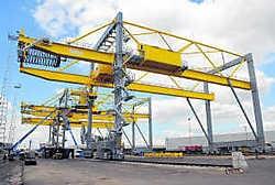De nieuwe Hupac-terminal aan het Churchill-dok.sdl