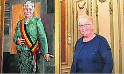 Anny De Maght is tevreden over haar portret. 'Een confrontatie met jezelf.' Hendrik De Rycke