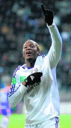 Romelu Lukaku viert de 0-1. Met twee doelpunten en twee assists had de jonge spits opnieuw een ruim aandeel in de paars-witte zege.belga