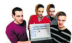 De vier studenten Pieter De Vidts, Kenneth Beelplrez, Joachim Engels en Pieter-Jan Beyls zijn de ontwerpers van Picto. phk