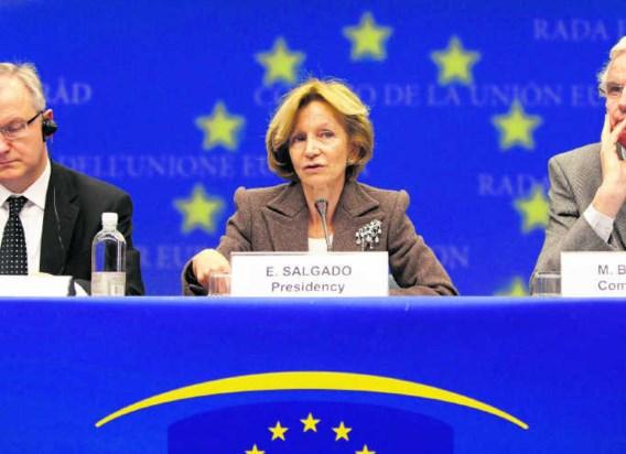 'We streven naar een zo groot mogelijke meerderheid', zo verduidelijkte de Spaanse minister van Financiën, Elena Salgado, achteraf.epa
