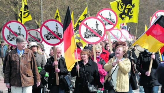 Aanhangers van pro-NRW en sympathisanten met Vlaamse vlaggen manifesteren voor een referendum over een minarettenverbod.Roland Weihrauch/epa