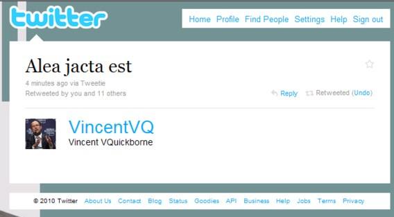 Regering valt op Twitter