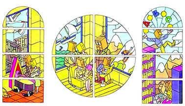 De glasramen die Swarte ontwierp voor een kloosterkapel in Grenoble. rr