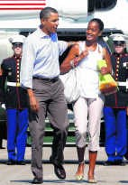 Malia Obama eergisteren.rtr