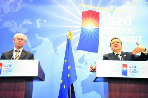 De president van de EU, Herman Van Rompuy, en de Commissievoorzitter Jose Manuel Barroso probeerden de angst te temperen op een persconferentie in de marge van de G20. afp