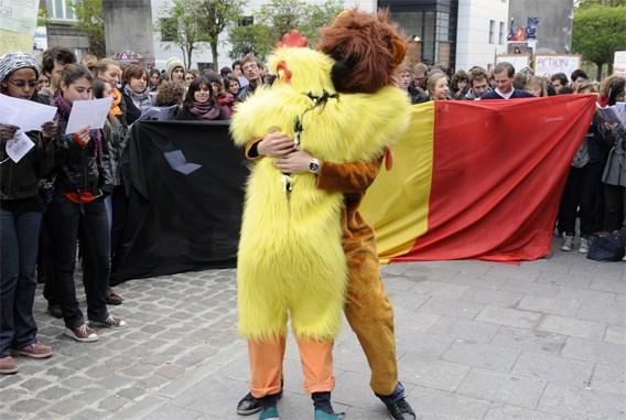 Flashmob in Brussel tegen splitsing België