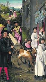 Vijf van de zeven panelen van Goswin Van der Weydens 'Zeven taferelen uit het leven van de heilige Dymphna'.rr