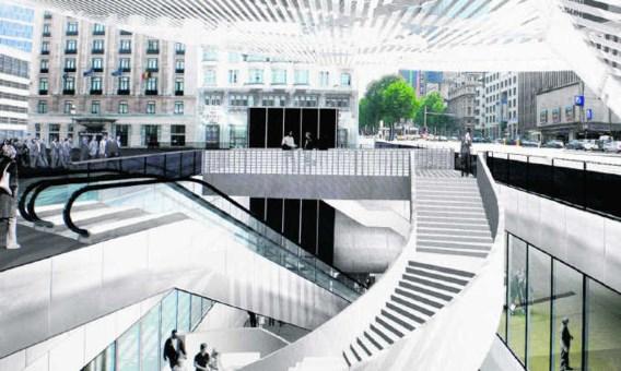 De grote stalen luifel boven het Rogierplein zal als stadsbaken fungeren.Herman Ricour