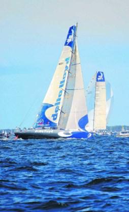 Een door Delta Lloyd gesponsorde zeilboot tijdens de Volvo Ocean Race.rr