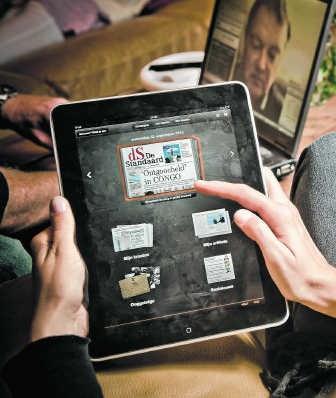 'De Standaard' was de eerste Vlaamse krant op de Apple iPad.Jimmy Kets