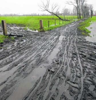 Het wandelpad is herschapen in een modderpoel na de mountainbikerit. mvn