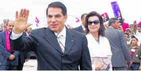 Dictator Ben Ali en zijn vrouw Leila in vroeger dagen. epa
