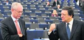 Herman Van Rompuy en Jose Manuel Barroso.afp