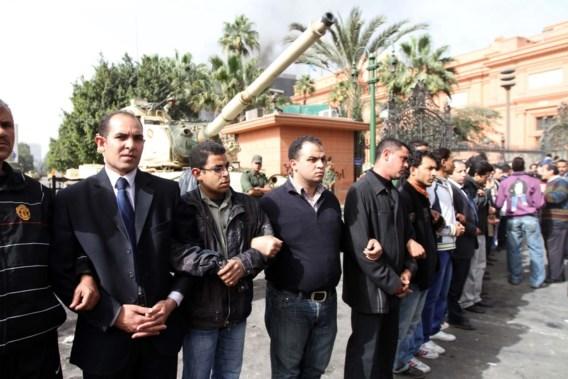 Betogers beschermen Egyptische kunstschatten