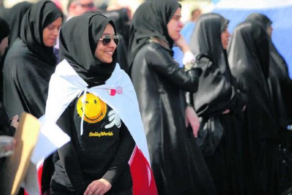Een smiley tijdens de protesten op de Parel Rotonde in Manama. Phil Weymouth/afp