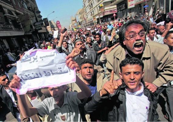 In de Jemenitische hoofdstad Sanaa eisen betogers al dagenlang dat president Saleh opstapt.Muhammed Muheisen/ap