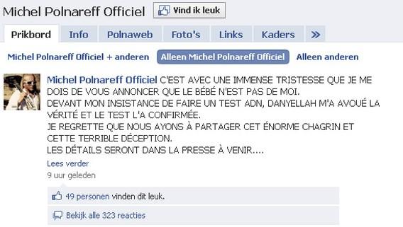 Franse zanger op Facebook: 'zoon is niet van mij'