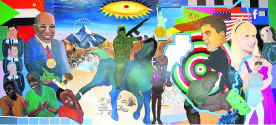 De 'Darfurnica' van Nadia Plesner, een confronterende botsing van oorlogsgruwel en Hollywood-chic. In het midden het Darfour-kind met de Vuitton-tas. Zoek ook de tassen van Hermès (de 'Birkin') en Chanel (de '2.55').Nadia Piesner