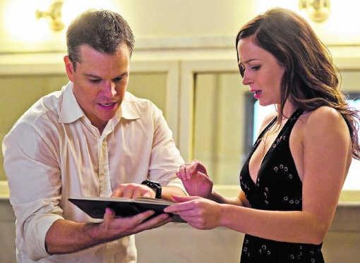 Matt Damon en Emily Blunt: (niet) voor elkaar bestemd volgens het draaiboek. rr