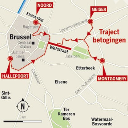 Donderdag grote hinder door vakbondsbetoging Brussel
