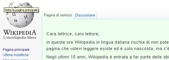 Geen Wikipedia in Italië