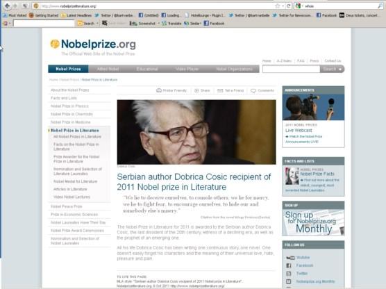 Servische activisten geven Nobelprijs Literatuur aan Dobrica Cosic