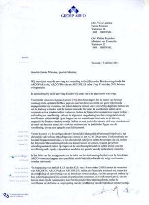 Brief Arco aan premier Yves Leterme