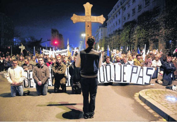 Betoging van 10 november in Rennes tegen een voorstelling van Romeo Castellucci. Damien Meyer /AFP