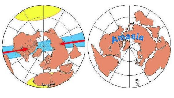 Eurazië en Amerika gaan noordwaarts naar elkaar toe bewegen (links). Binnen honderd miljoen jaar (rechts) zijn de continenten weer zo ongeveer verenigd. Links is ook ruwweg de ligging van het oude supercontinent Pangea aangegeven. Mitchell/Nature