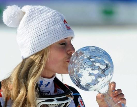 Lindsey Vonn wint laatste afdaling in Schladming