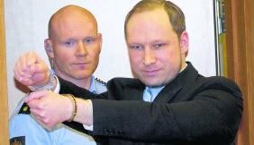 Anders Breivik in de rechtbank, begin februari.afp
