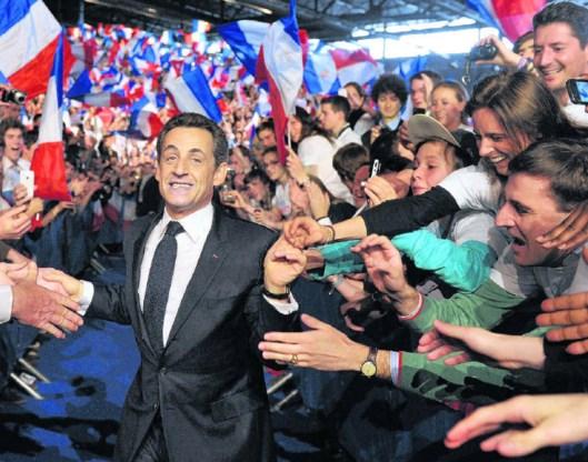 Nicolas Sarkozy op een verkiezingsmeeting in Villepinte: komt hij nog verrassend uit de hoek?Philippe Wojazer/afp