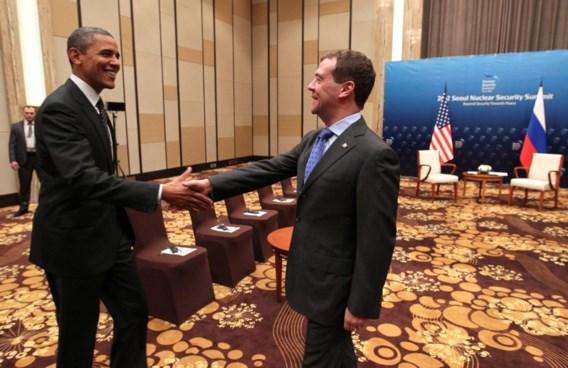 Vergeten microfoons registreren privégesprek Obama en Medvedev