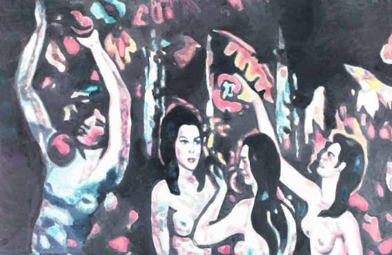 'Allo! V' (2012): druk bevolkt met vrouwenfiguren, en kleuren die kitscherig aandoen.Luc Tuymans