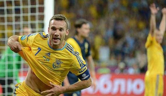Andrei Shevchenko kapt met voetballen