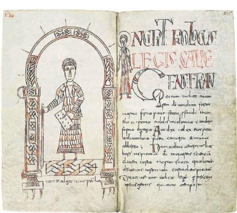 Rijk geïllustreerde pagina uit een kopie van de oorspronkelijke 6de-eeuwse wettekst 'Lex Salica' die nu in de Stiftsbibliotheek van het Zwitserse Sankt-Gallen ligt.