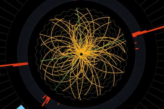 Twee protonen botsen, geobserveerd in de deeltjesversneller van het Cern.